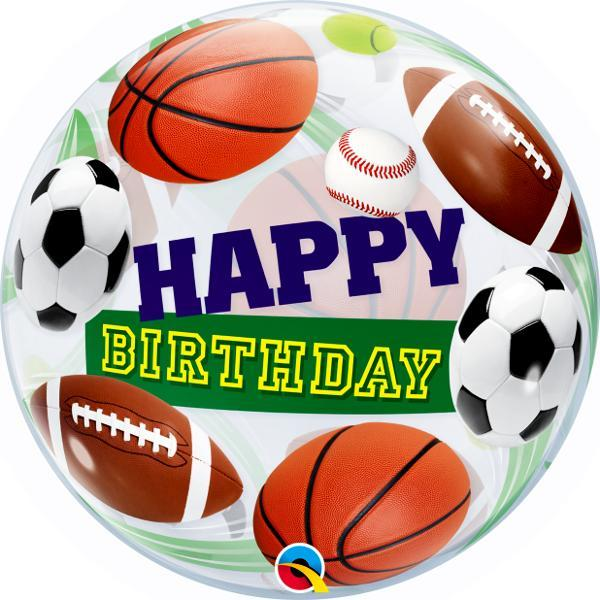 Burbuja Sencilla Happy Birthday Pelotas de Deportes - 1 pza Globos Qualatex