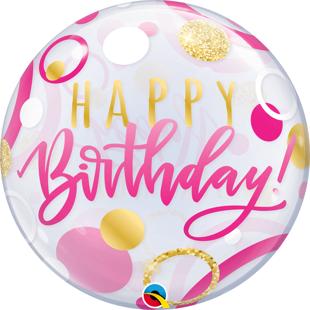"Burbuja Sencilla Happy Birthday Rosa y Dorada 22"" - 1 pza Globos Qualatex"
