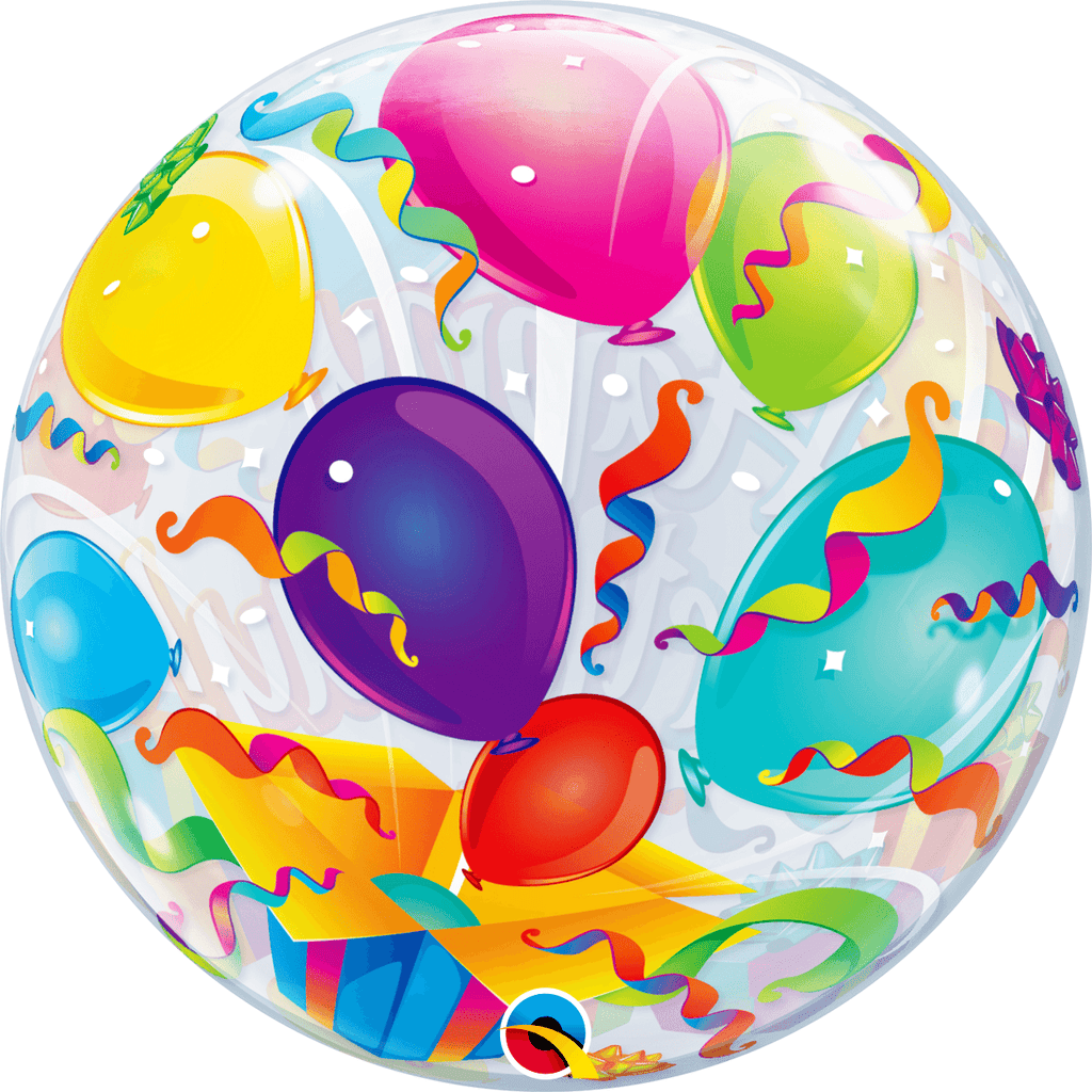 Burbuja Sencilla Happy Birthday-Sorpresa - 1 pza Globos Qualatex