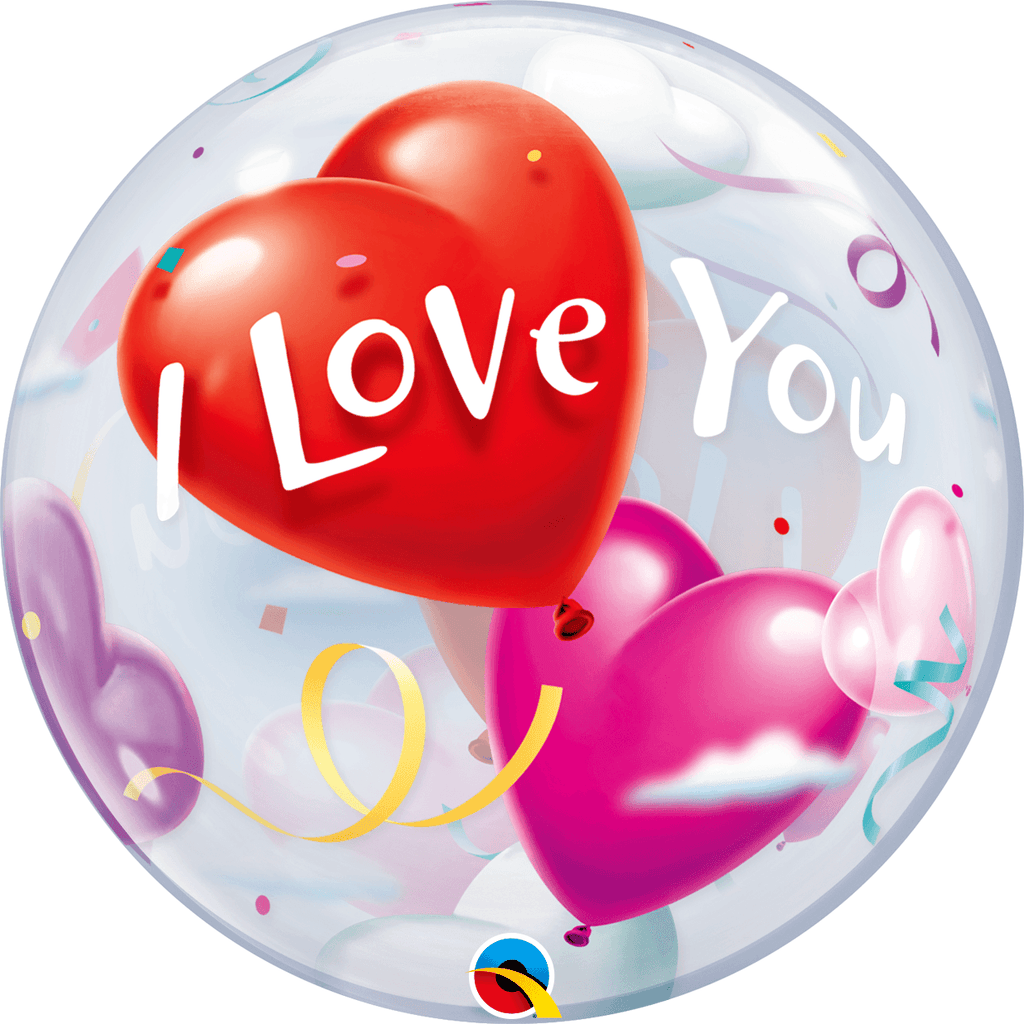 Burbuja Sencilla I Love you - 1 pza Globos Qualatex