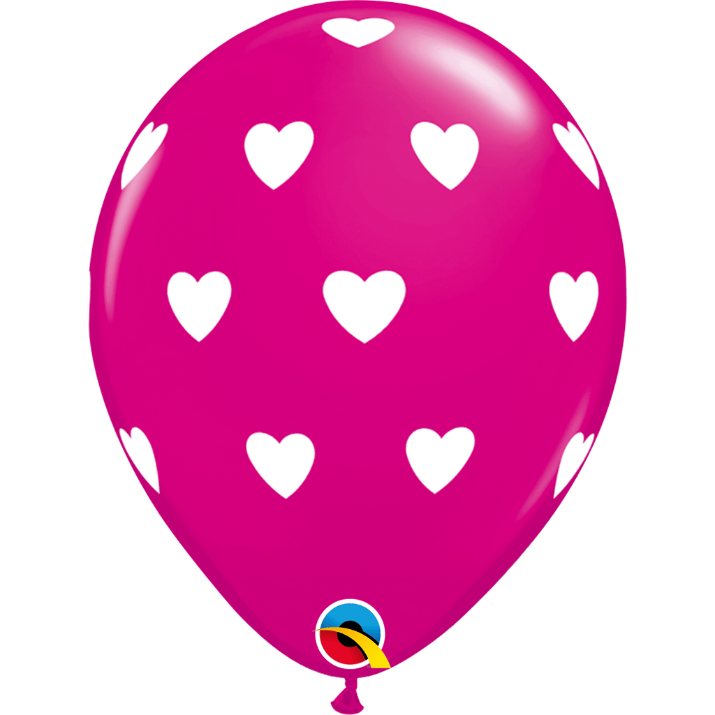 "Globo Latex 11"" Corazones Rosa - 1 pza Globos Qualatex Fucsia"