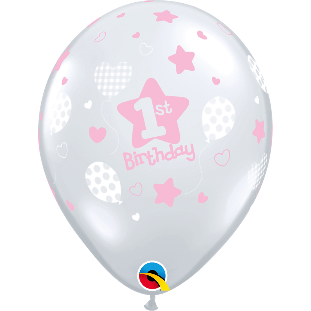 "Globo Latex 11"" 1st Birthday Rosa- 1 pza Globos Qualatex"