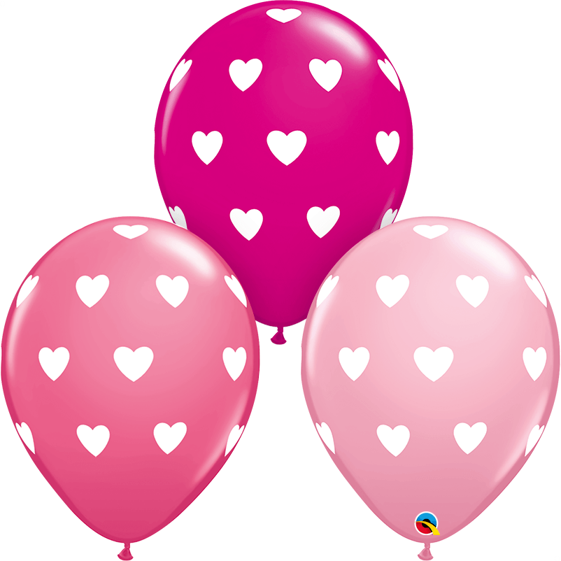 "Globo Latex 11"" Corazones Rosa - 1 pza Globos Qualatex"