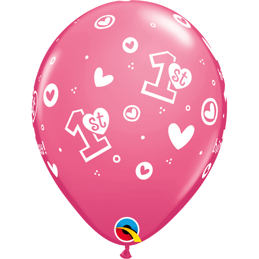 "Globo Latex 11"" Happy Birthday 1er año Corazones Rosa - 1 pza."