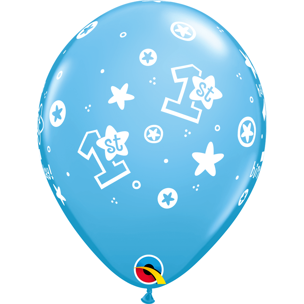 "Globo Latex 11"" Happy Birthday 1er año Estrellas Azules - 1 pza."