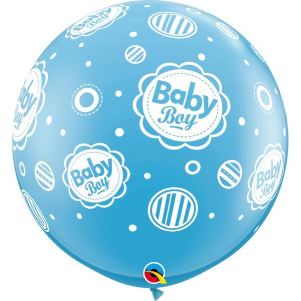Globo Latex Gigante Baby Boy Puntos 3' - 1 Pza Globos Qualatex