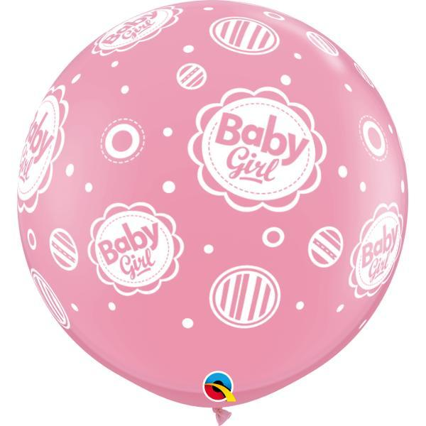 Globo Latex Gigante Baby Girl Puntos 3' - 1 Pza Globos Qualatex
