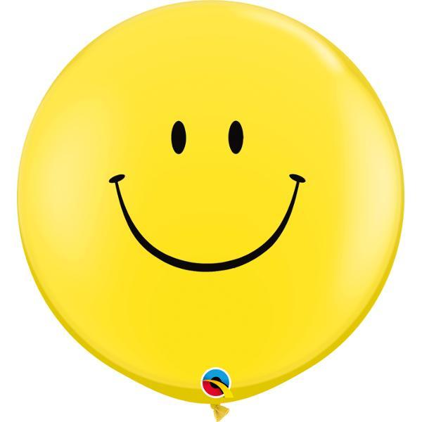 Globo Latex Gigante Carita Feliz Amarillo 3' - 1 Pza Globos Qualatex