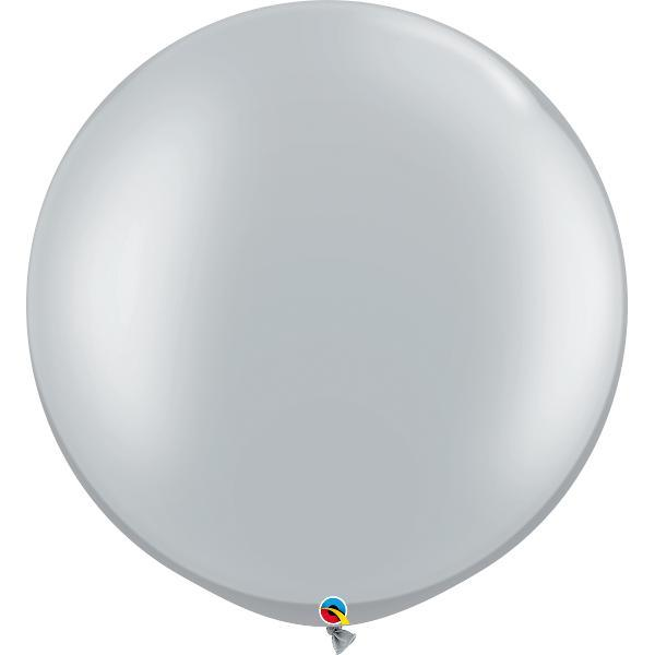 Globo Latex Gigante Plata 3' - 1 Pza Globos Qualatex