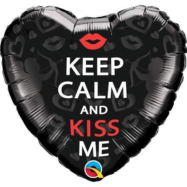 Globo Metálico Corazón Negro ¨Keep Kalm And Kiss Me¨ - 1 pza Globos Qualatex