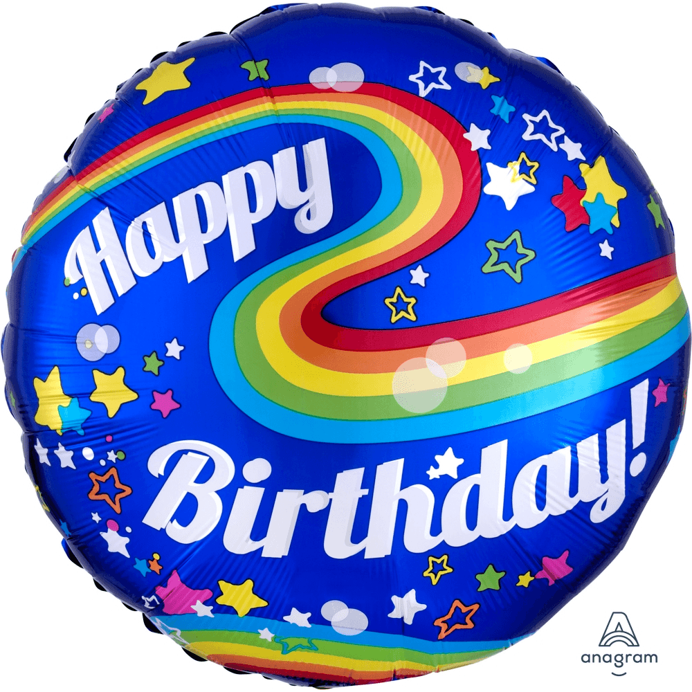Globo Metálico Jumbo Happy Birthday Arcoiris 60 cms - 1 pza Globos Qualatex