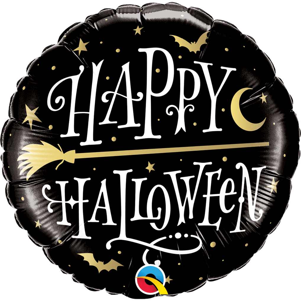 Globo Metálico Redondo Negro Happy Halloween Escoba 18¨ - 1 pza Globos Qualatex