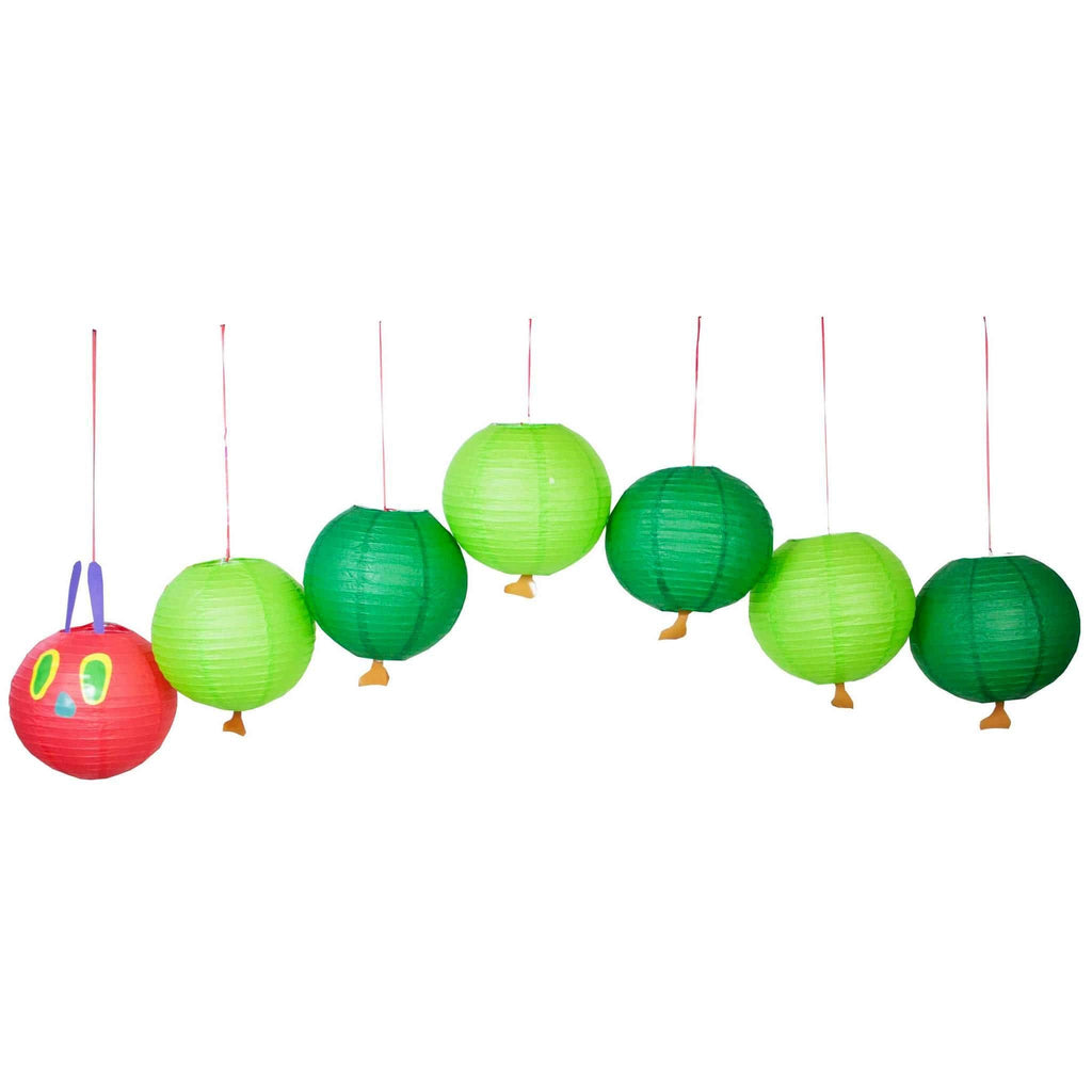 Kit de Lamparas Chinas The Very Hungry Caterpillar - 7 pzas Kit Decoración Talking Tables