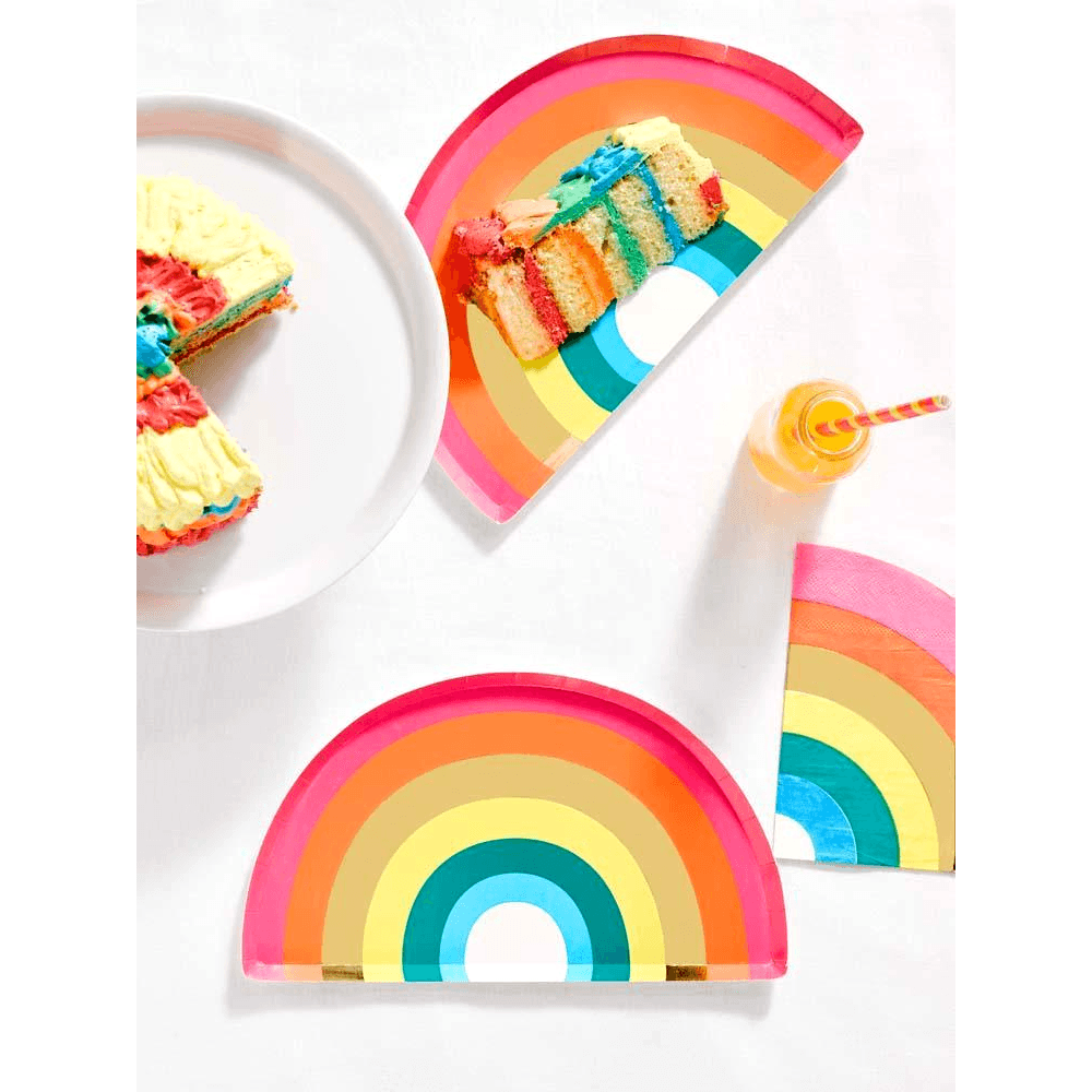 Plato Birthday Brights de Arcoíris - 12 pzas Platos Talking Tables