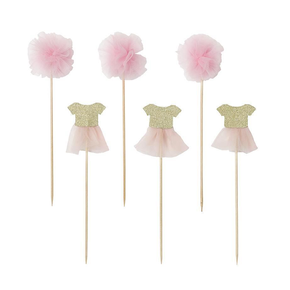 Toppers Rosa con Tutus y Pom Pom - 12 pzas Toppers Talking Tables