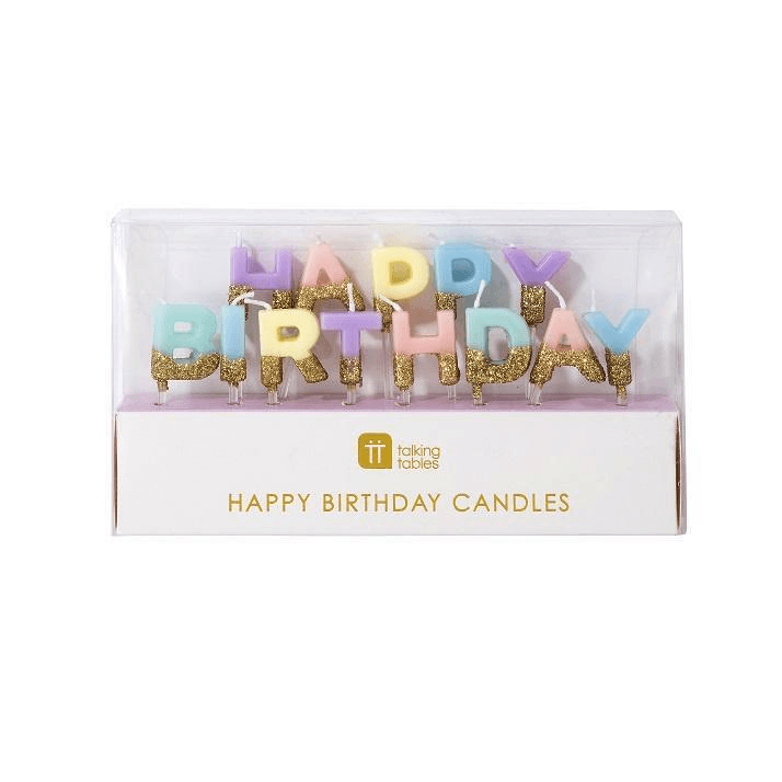 Vela Happy Birthday Pastel con Glitter - 1 pza Velas Talking Tables