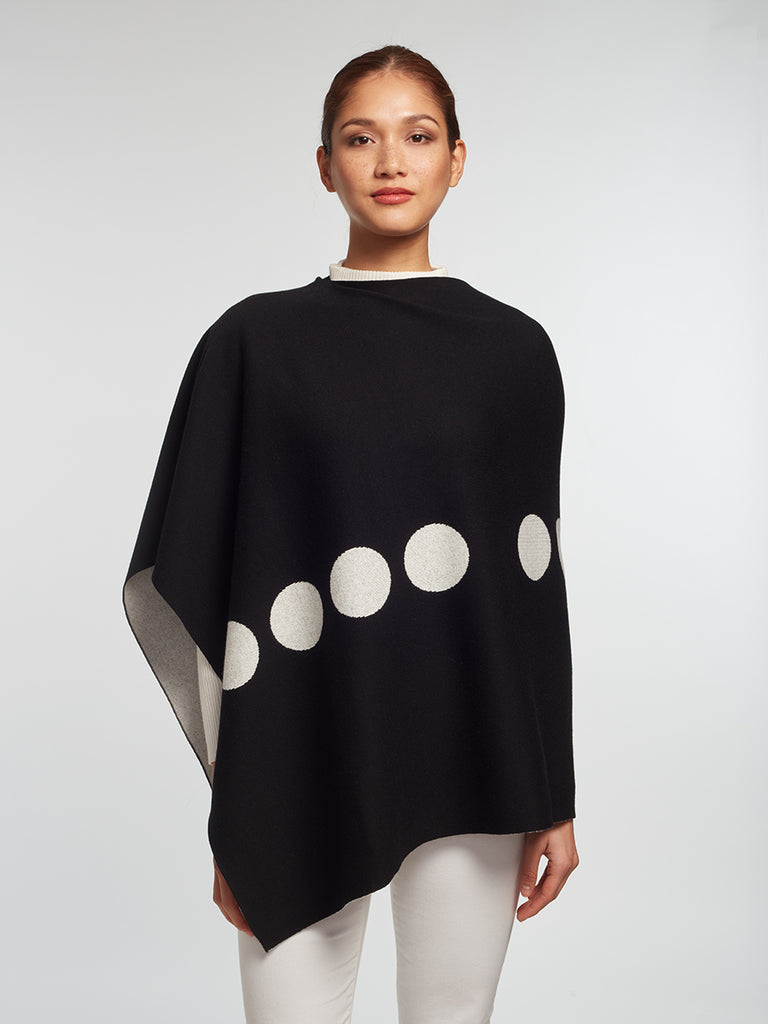 Luxury Women's Cashmere | Cotton Reversible Poncho - Designer Wrap
