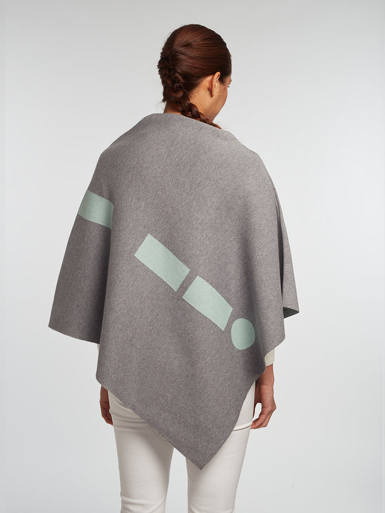 Luxury Women's Cashmere | Cotton Reversible Poncho - Designer Travel Wrap
