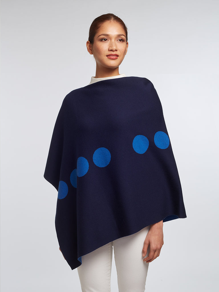 "Marconi ""HUG"" Reversible Poncho – Navy / Harbor Blue"
