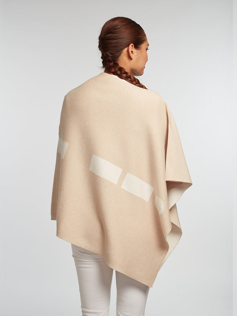 Sand Luxury Women's Cashmere | Cotton Reversible Poncho - Designer Travel Wrap