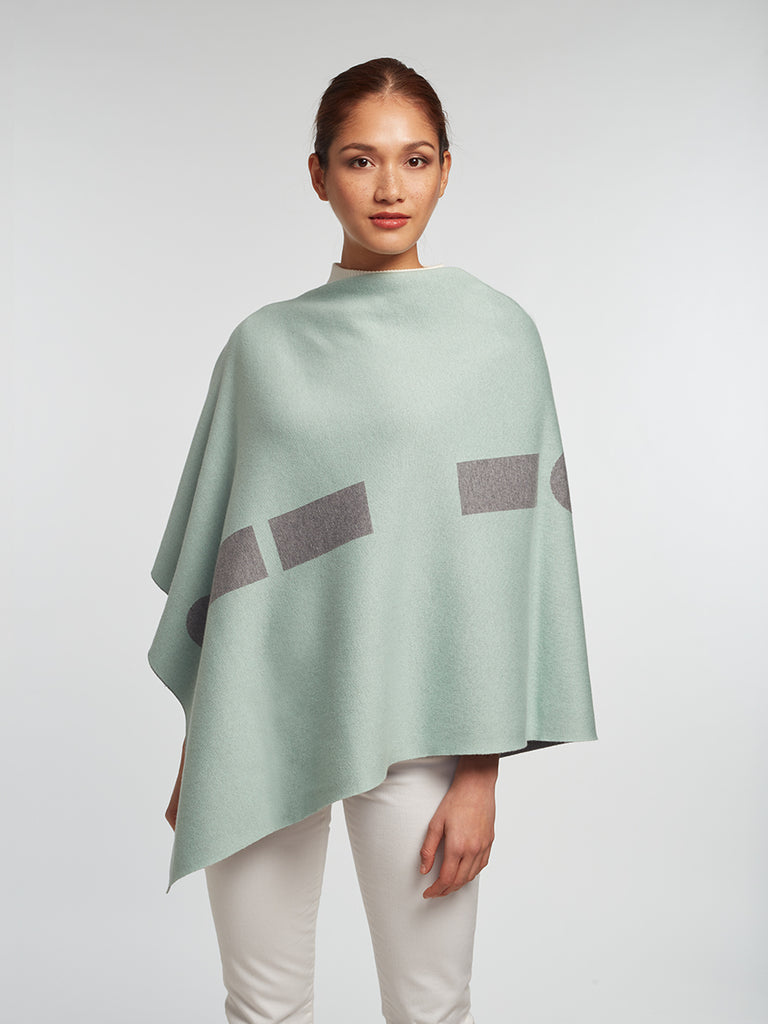 Grey Luxury Women's Cashmere | Cotton Reversible Poncho - Designer Wrap