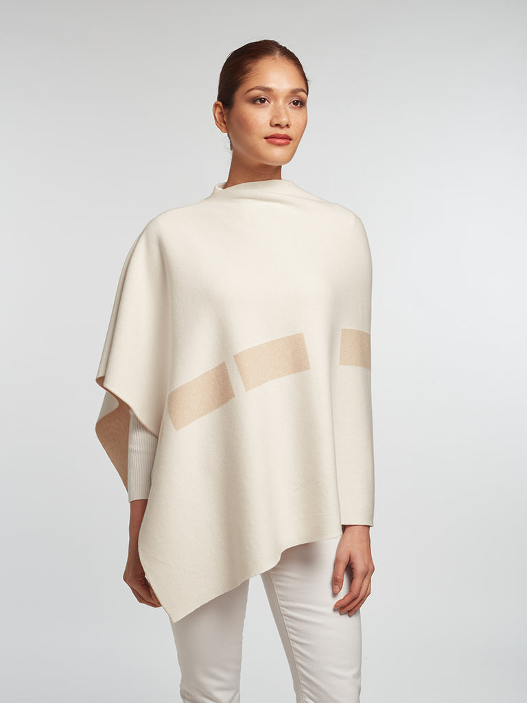 White Luxury Women's Cashmere | Cotton Reversible Poncho - Designer Wrap