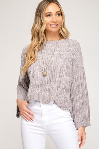 Mock Fuzzy Knit Sweater