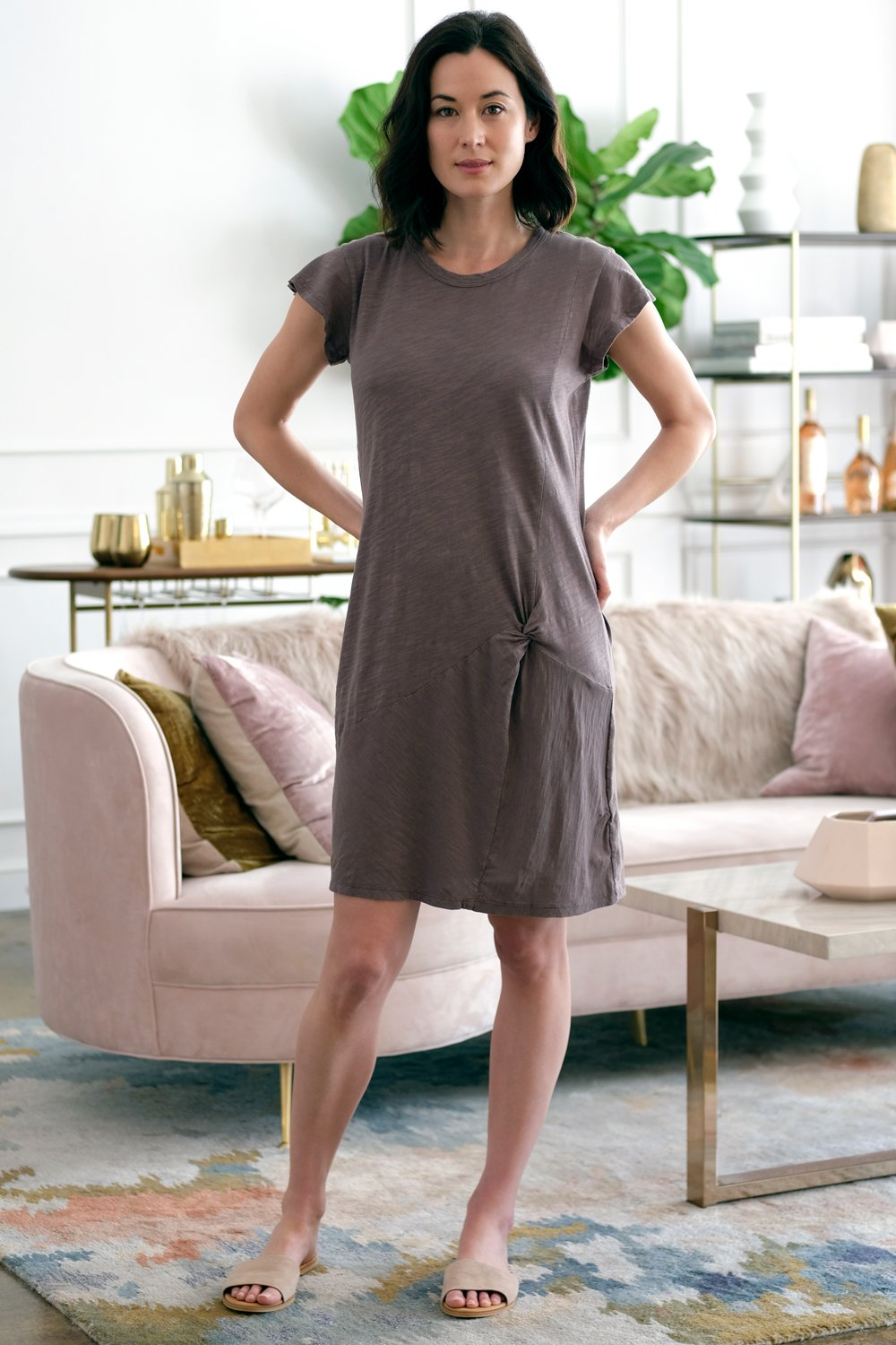 Flutter Sleeve Twist Front Dress