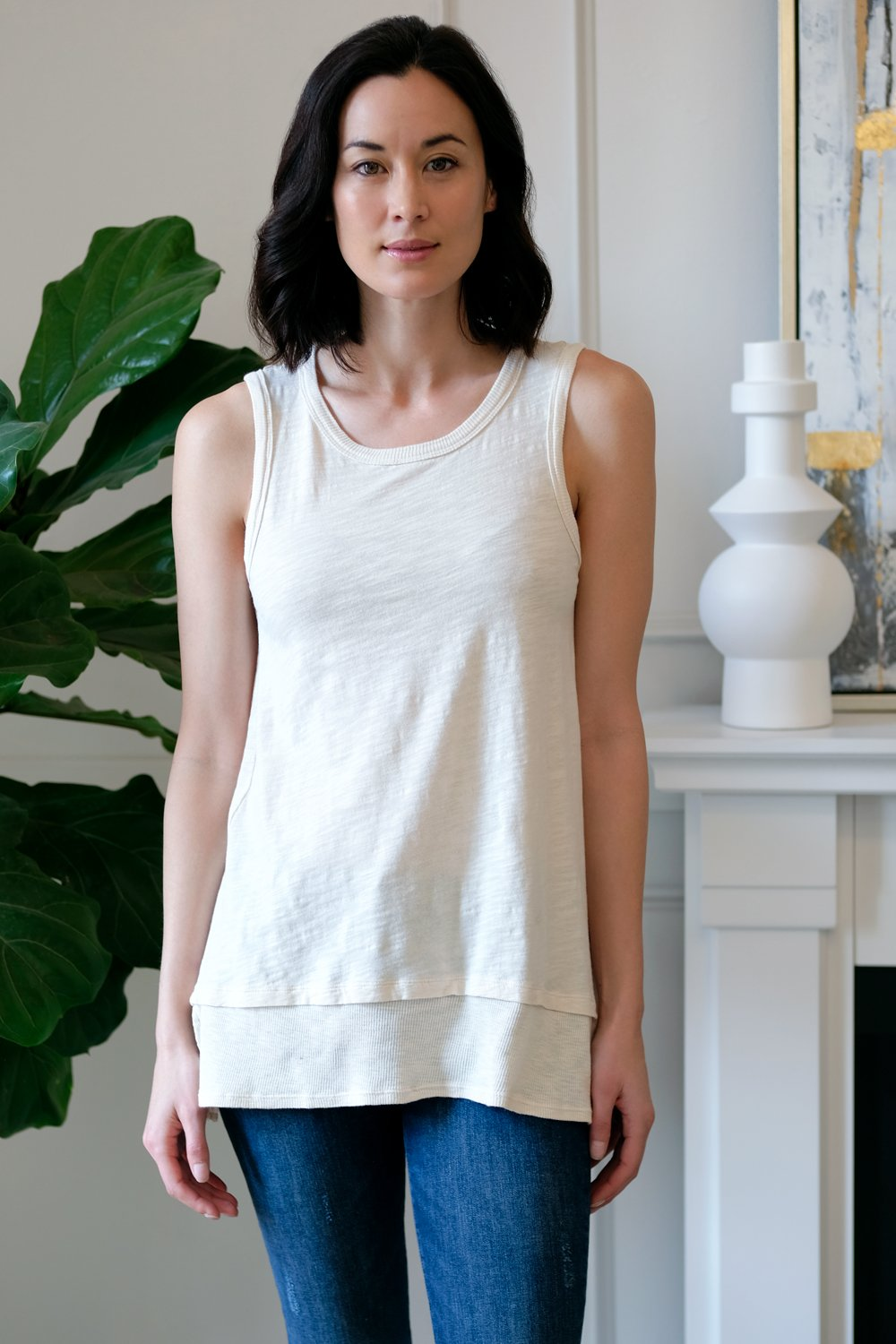 Crew Neck Tank with Rib Trim