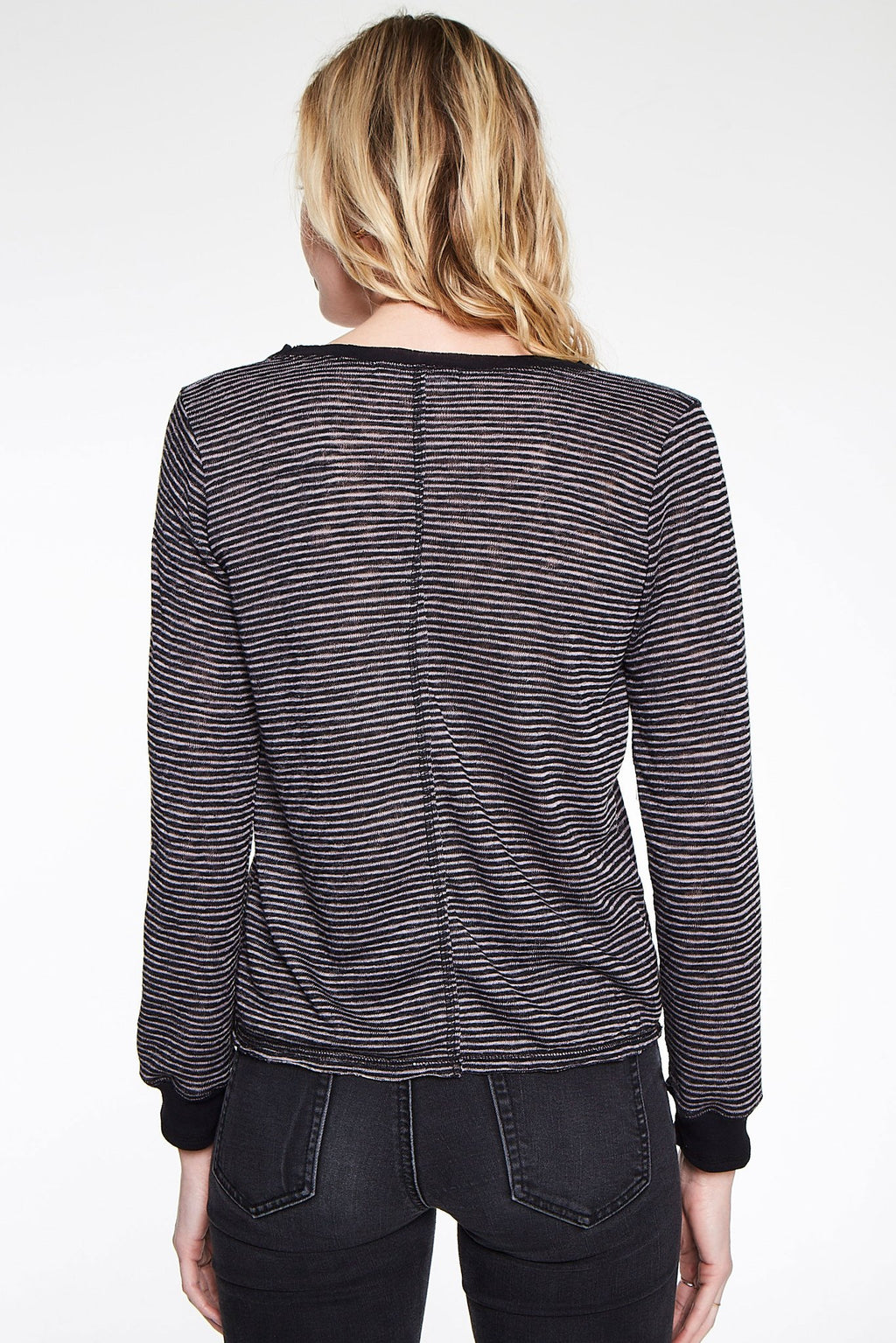 Deeply V Striped Long Sleeve