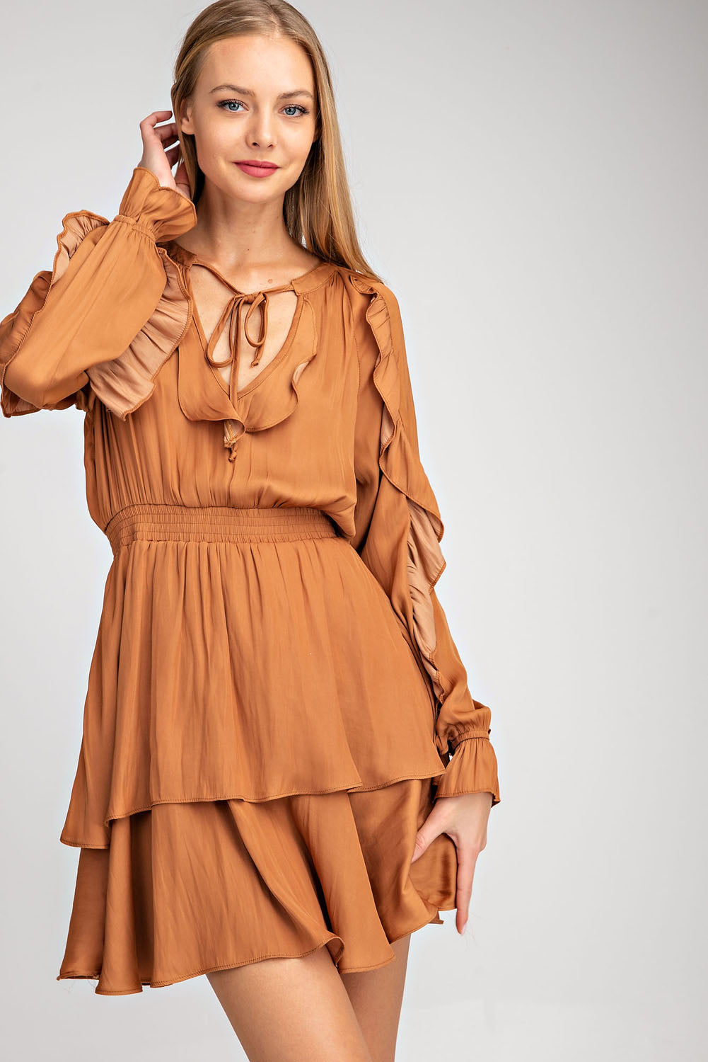 Ruffled Smock Waist Dress