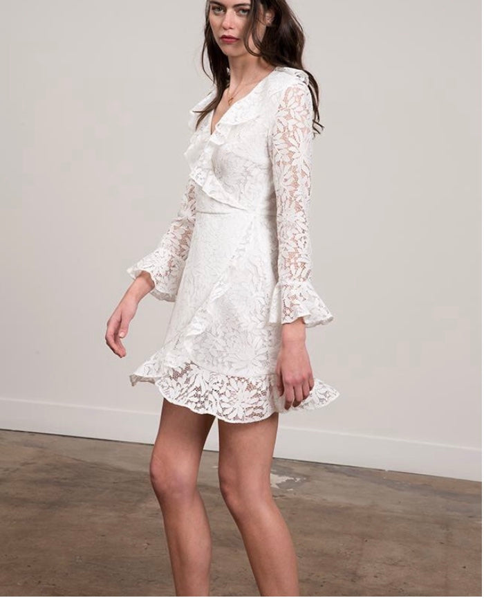 Long Sleeve Lace Wrap Dress