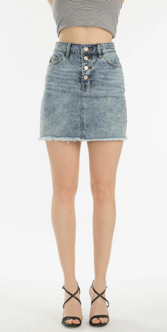 Four Button Frayed Denim Shorts