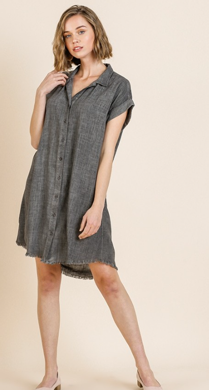 Short Folded Sleeve Button Front Collared Dress