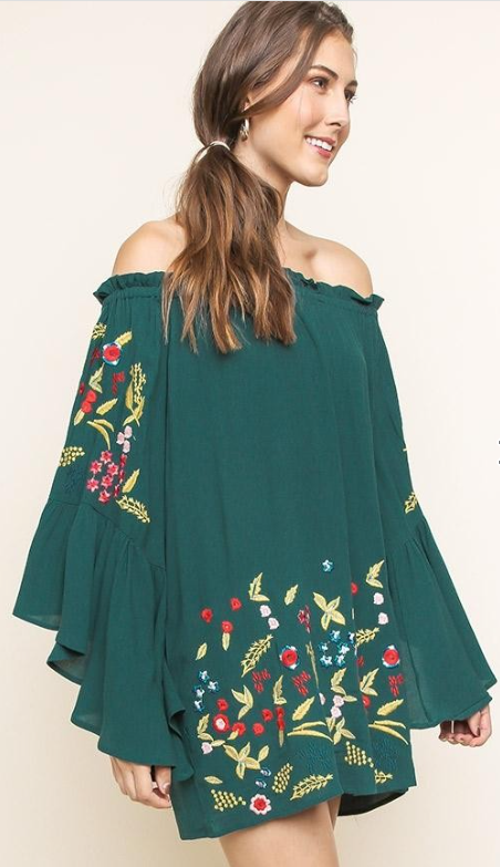 Off the Shoulder Bell Sleeved Dress with Floral Embroidery