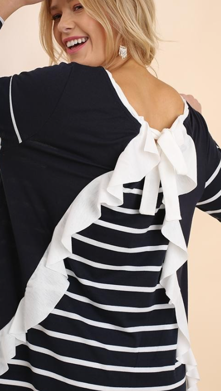 Striped Long Sleeve Ruffle Top