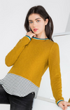 Striped Long Puff Sleeve Knit Top