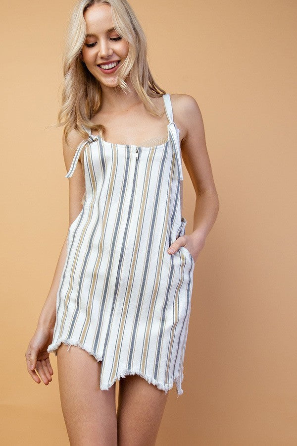 Stretch Stripe Twill Mini Dress