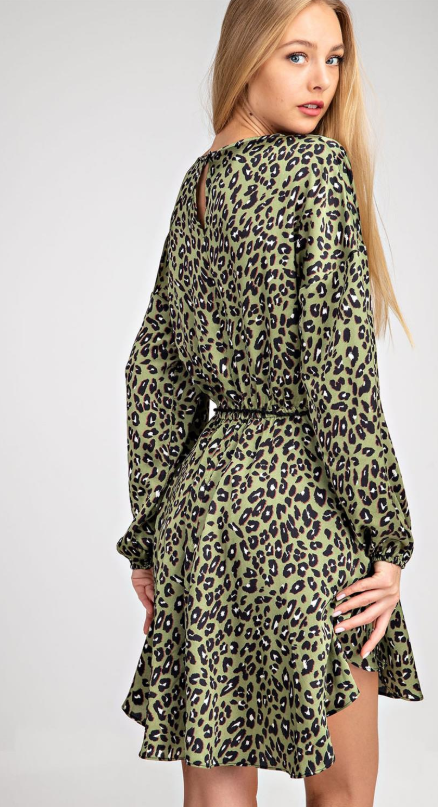 Leopard Boat Neck Dress