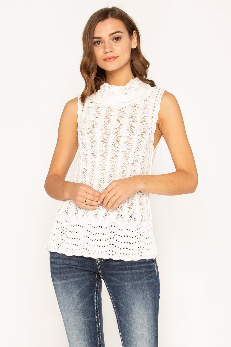 Crochet Lace Sleeveless Turtleneck Sweater