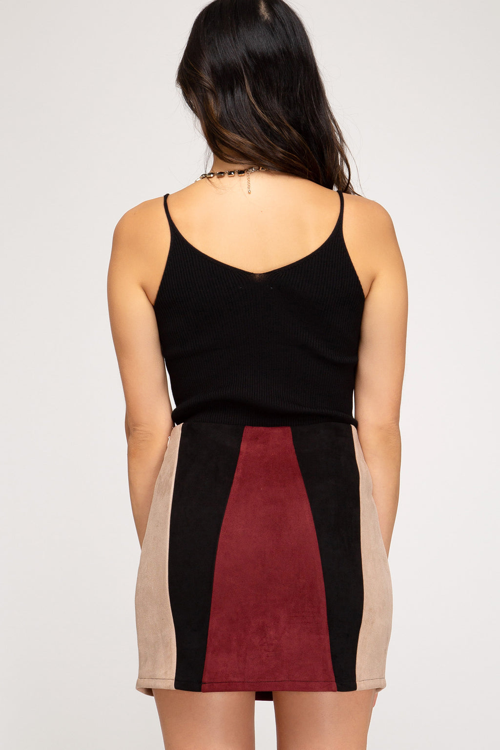 Color-Block Suede Skirt