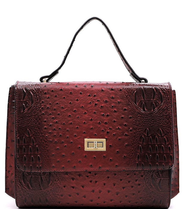 Ostrich Messenger Satchel in Red