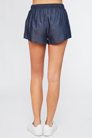 Side Button Denim Shorts