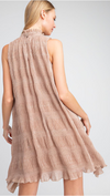 Crinkled Mock A-Line Dress