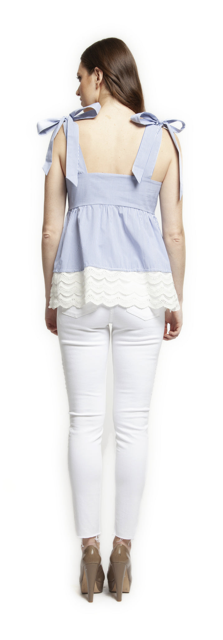 Embroidered High Rise White Skinny Jeans