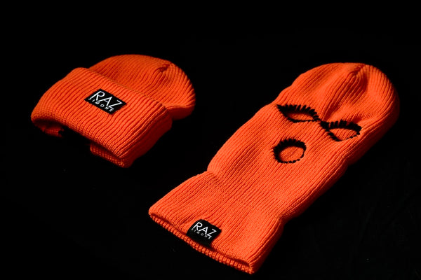 Orange Fall Skimask Beanie