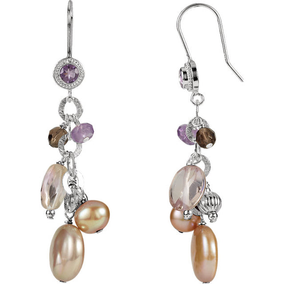 Sterling Silver Earrings Multi-Color Freshwater Pearls and Genuine Stones Dangler