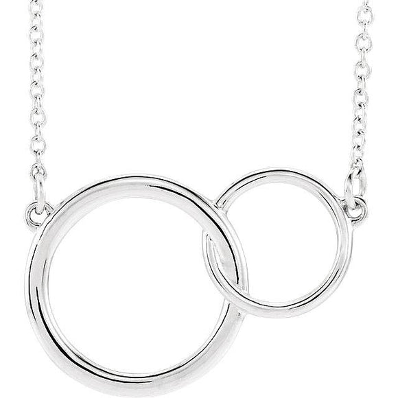 New! Show Your Heart. Lovingly Coupled Circles Silver Necklace