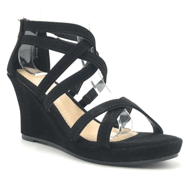 Anna Mikka-10 Black Color Wedge Shoes for Women