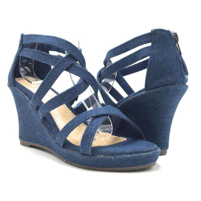 Anna Mikka-10 Blue Denim Color Wedge Shoes for Women